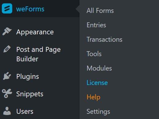 Activate weForms Pro in WordPress