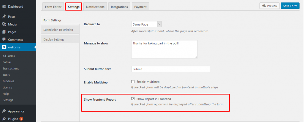 Show frontend results of WordPress form poll on weForms