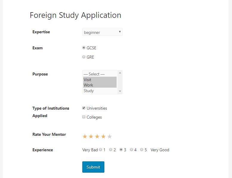 weForms WordPress poll form