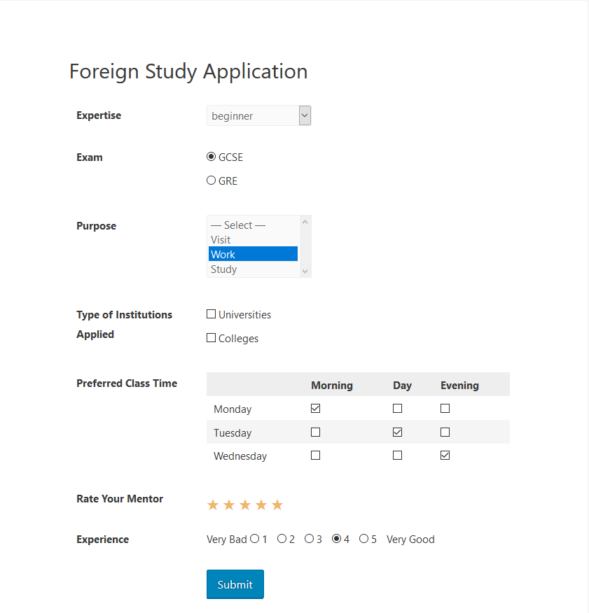 WordPress poll form on weForms frontend