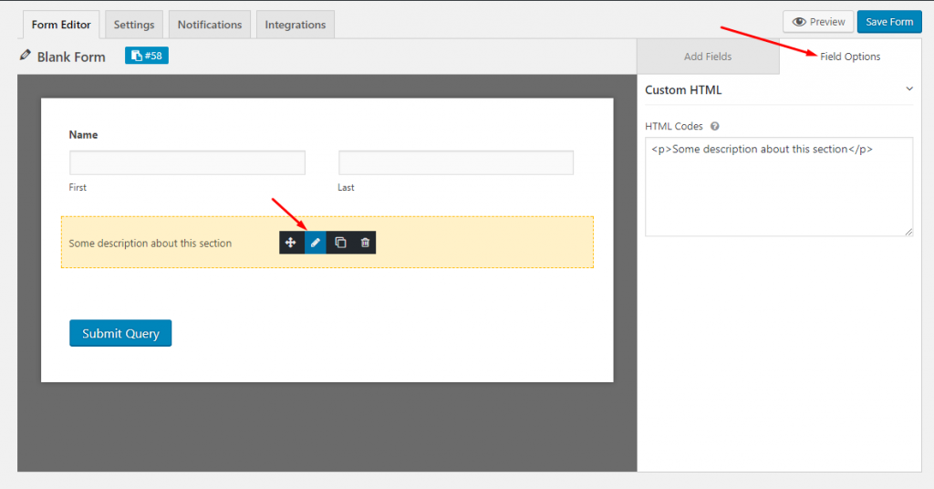 Custom HTML field options on WordPress forms using weForms